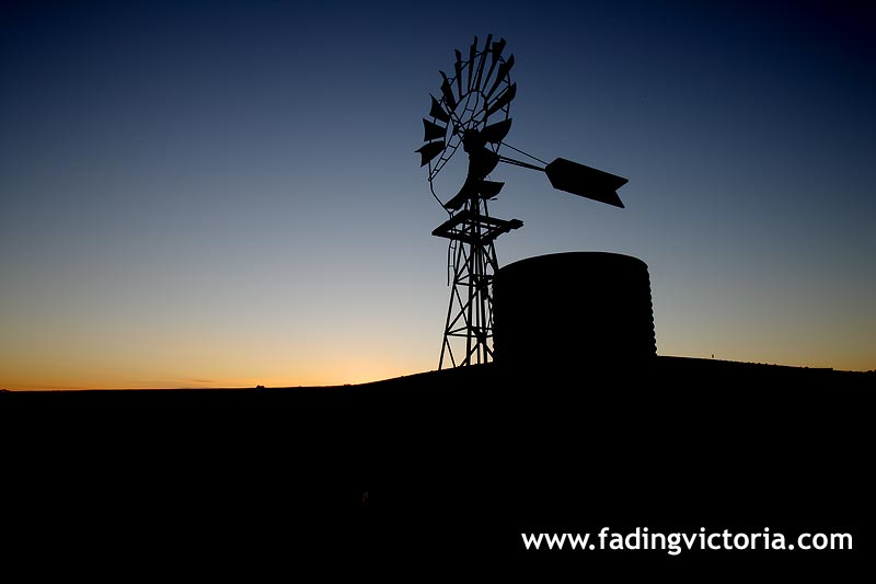 Sunset over old windmill